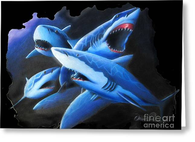 White Shark Drawings Greeting Cards - Sharks in coral Greeting Card by David Peairs