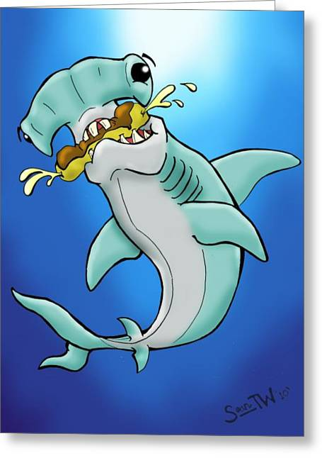 Cartoonist Greeting Cards - Sharks that eat cake Hammerhead Greeting Card by Sean Williamson