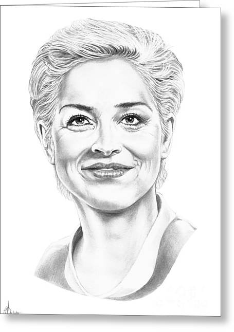 (sharon Stone) Greeting Cards - Sharon Stone Greeting Card by Murphy Elliott