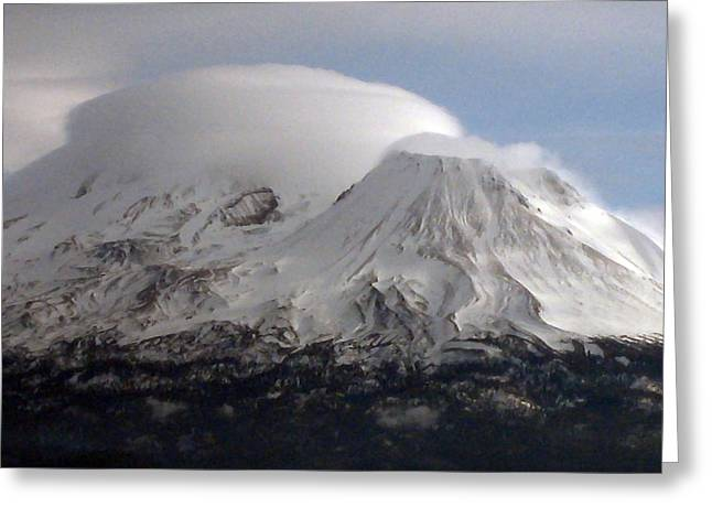 Sacred Digital Art Greeting Cards - Shasta Lenticular Greeting Card by Holly Ethan