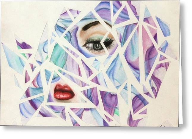 Cut-outs Pastels Greeting Cards - Shattered Greeting Card by Jessika Clement