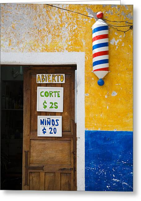 Recently Sold -  - Entrance Door Greeting Cards - Shave and a Haircu Greeting Card by Eggers   Photography