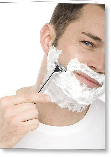 30-34 Years Greeting Cards - Shaving Greeting Card by