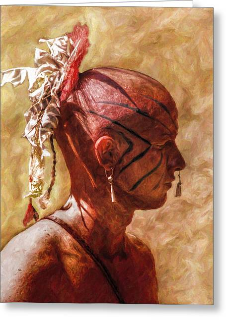 Made Digital Art Greeting Cards - Shawnee Indian Warrior Portrait Greeting Card by Randy Steele