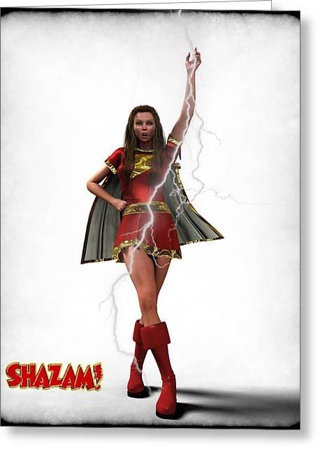 Frederico Borges Greeting Cards - Shazam - Mary Marvel Greeting Card by Frederico Borges