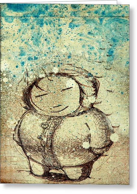 Character Mixed Media Greeting Cards - She Liked The Cold Greeting Card by Konrad Geel