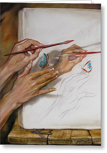 Hands Stilllife Greeting Cards - She Paints Greeting Card by Martin Katon