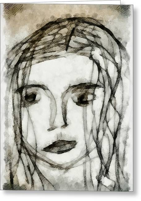 Self-portrait Mixed Media Greeting Cards - She Sat Alone 2 Greeting Card by Angelina Vick