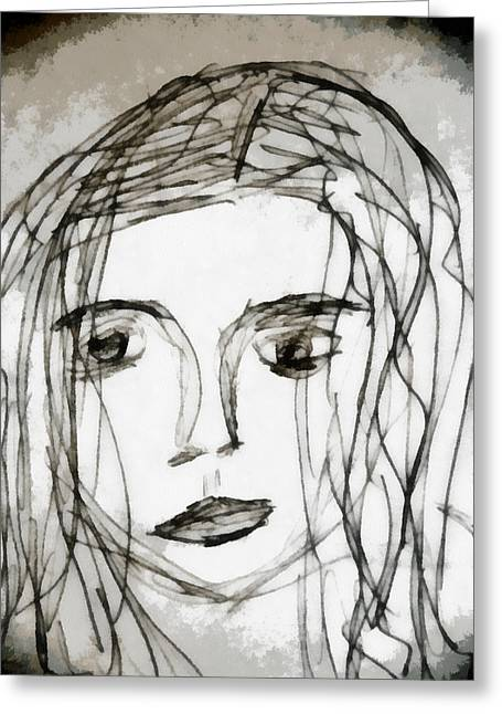 Self-portrait Mixed Media Greeting Cards - She Sat Alone Greeting Card by Angelina Vick