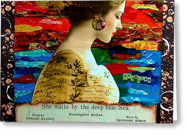 She Waits by the Deep Blue Sea Greeting Card by Lynell Withers