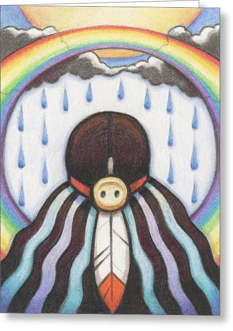 Amy S Turner Greeting Cards - She Who Brings The Rain Greeting Card by Amy S Turner