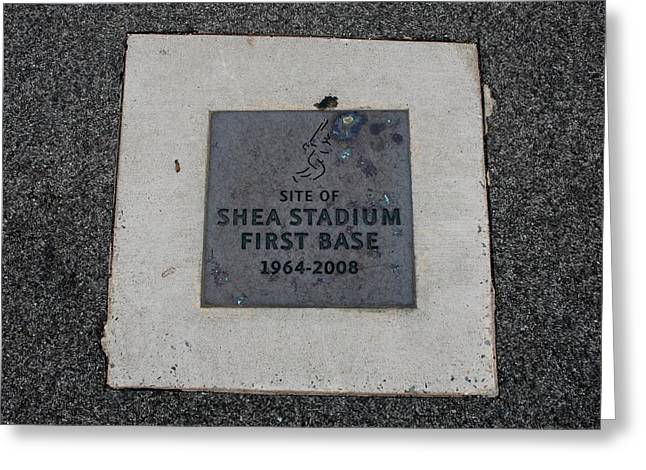 SHEA STADIUM FIRST BASE Greeting Card by ROB HANS