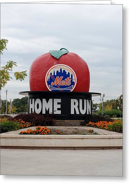 New York Baseball Parks And Fields Greeting Cards - Shea Stadium Home Run Apple Greeting Card by Rob Hans