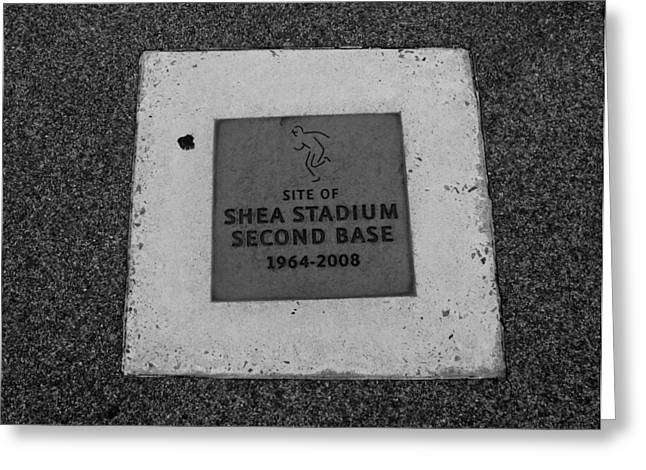 Shea Stadium Digital Greeting Cards - Shea Stadium Second Base Greeting Card by Rob Hans