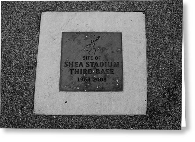 SHEA STADIUM THIRD BASE in BLACK AND WHITE Greeting Card by ROB HANS