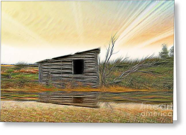 Shed In The Field Greeting Card by Vickie Emms