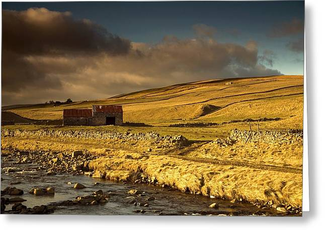 Farm Structure Greeting Cards - Shed In The Yorkshire Dales, England Greeting Card by John Short