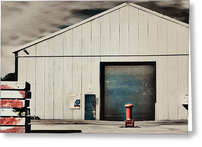 Shed Digital Art Greeting Cards - Shed with bollard and pallets Greeting Card by Harry Neelam