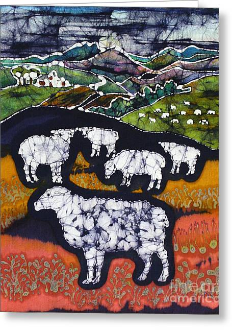 Hills Tapestries - Textiles Greeting Cards - Sheep at Midnight Greeting Card by Carol  Law Conklin