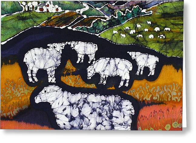 Sheep at Midnight Greeting Card by Carol  Law Conklin