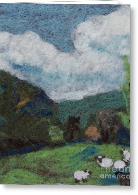 Hills Tapestries - Textiles Greeting Cards - Sheep in the Field Greeting Card by Nicole Besack