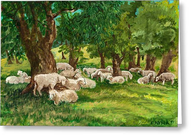 Best Sellers -  - Ithaca Greeting Cards - Sheep Pasture Ithaca New York Greeting Card by Ethel Vrana