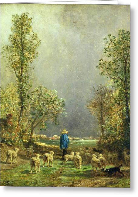 Country Landscapes Greeting Cards - Sheep watching a Storm Greeting Card by Constant-Emile Troyon