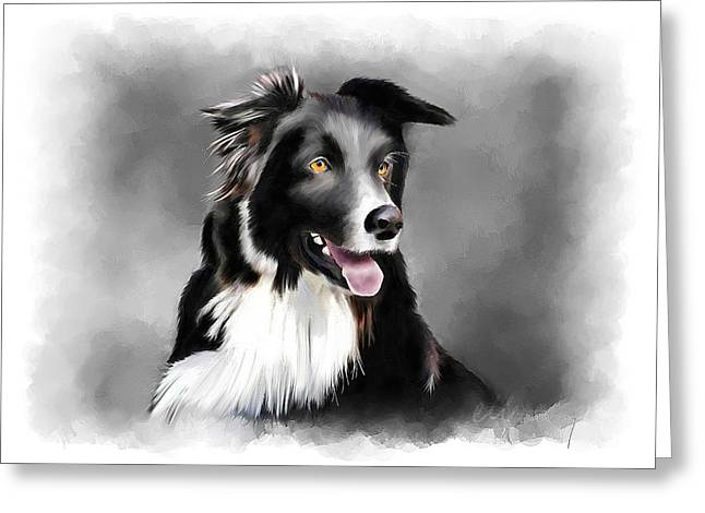 Dog Portrait Mixed Media Greeting Cards - Sheepdog Portrait Greeting Card by Michael Greenaway
