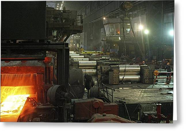Metal Sheet Greeting Cards - Sheet Mill Processing Molten Metal Greeting Card by Ria Novosti
