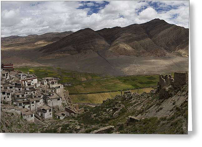 Tibetan Buddhism Greeting Cards - Shegar Monastery And A Group Of Ruined Greeting Card by Phil Borges