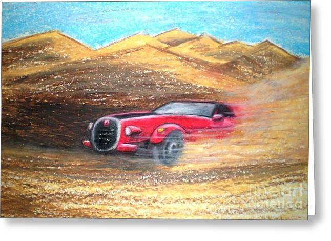 Dust Pastels Greeting Cards - Sheikhs Dirt Racer Greeting Card by C Ballal