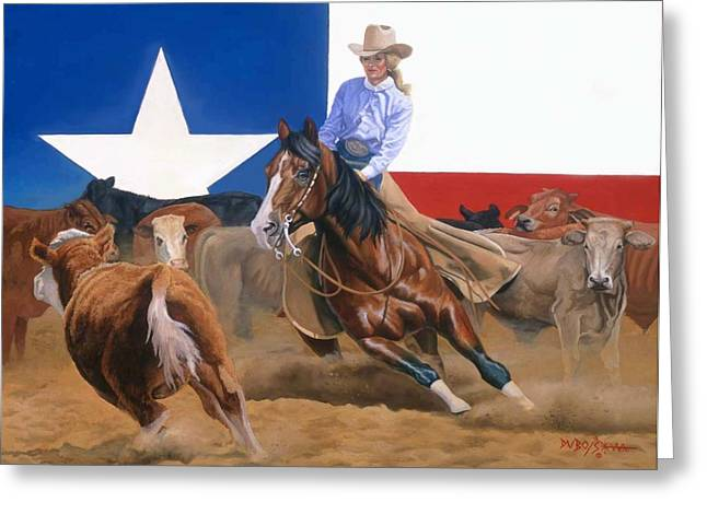 Lone Horse Paintings Greeting Cards - Sheila Welch And Doc-o-leo Greeting Card by Howard Dubois