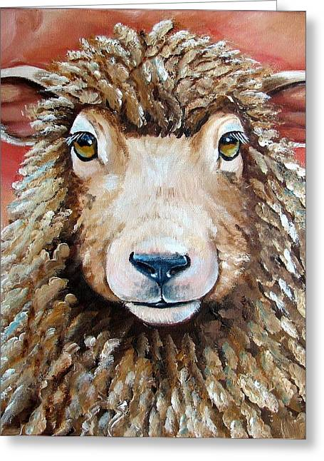 Lamb Greeting Cards - Shelby Greeting Card by Laura Carey