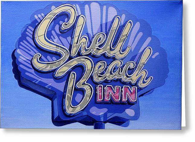 Shell Sign Paintings Greeting Cards - Shell Beach Inn Greeting Card by Jeff Taylor