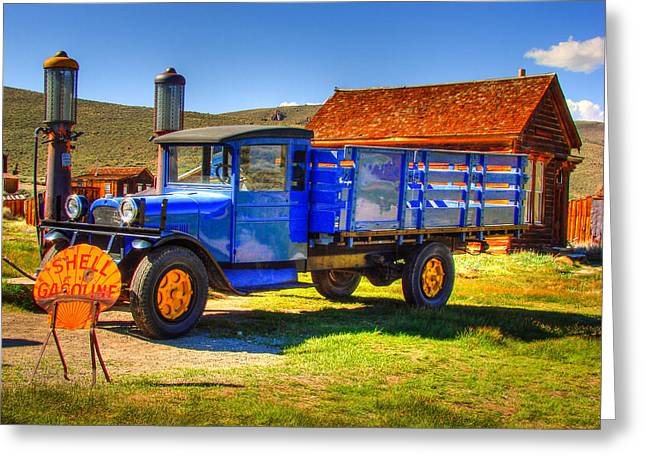 Antique Truck Greeting Cards - Shell Gas Station and Blue Truck in Bodie Ghost Town Greeting Card by Scott McGuire