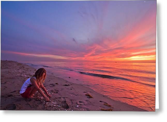 Short Sands Greeting Cards - Shelling Greeting Card by Debra and Dave Vanderlaan