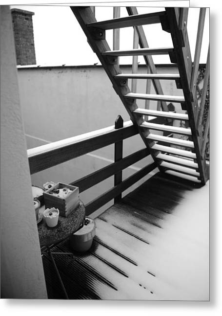 Wooden Stairs Greeting Cards - Shelter Greeting Card by Jessica Rose