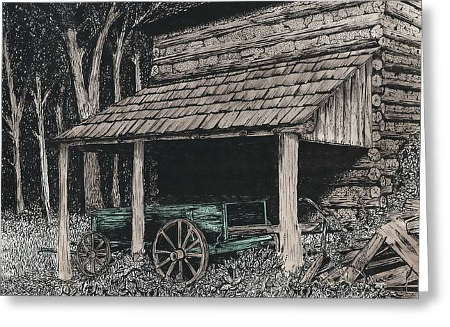 Barn Pen And Ink Greeting Cards - Shelter Greeting Card by Mike OBrien