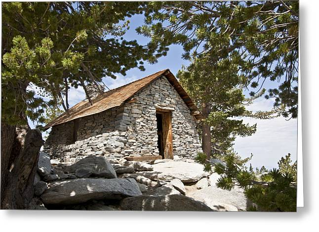 Mountain Cabin Greeting Cards - Shelter On The Peak Greeting Card by David Rische
