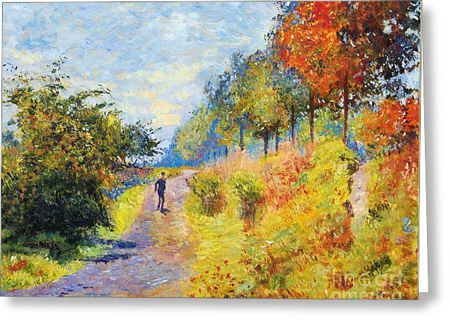 French Countryside Greeting Cards - Sheltered Path - sur les traces de Monet Greeting Card by David Lloyd Glover