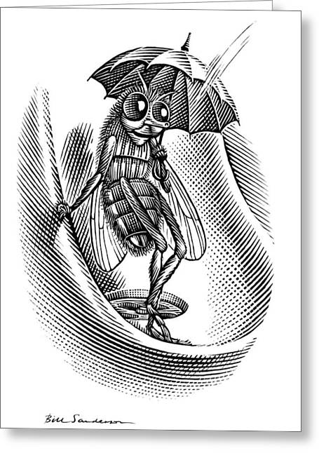 Linocut Greeting Cards - Sheltering Insect, Conceptual Artwork Greeting Card by Bill Sanderson