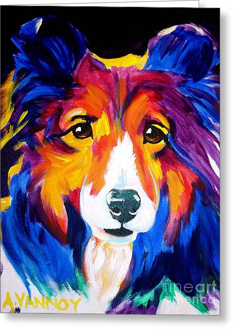 Alicia Vannoy Call Paintings Greeting Cards - Sheltie - Missy Greeting Card by Alicia VanNoy Call
