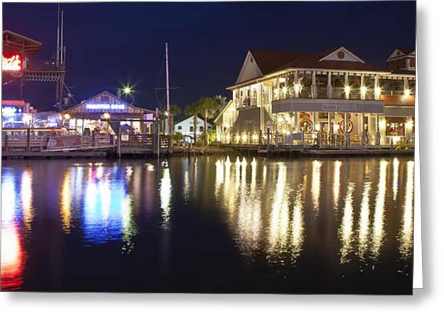 Donny Greeting Cards - Shem Creek by night - Panoramic Greeting Card by Donni Mac