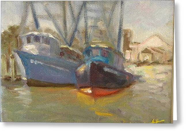 Boats At Dock Greeting Cards - Shem creek shrimps Greeting Card by Liz Dettrey