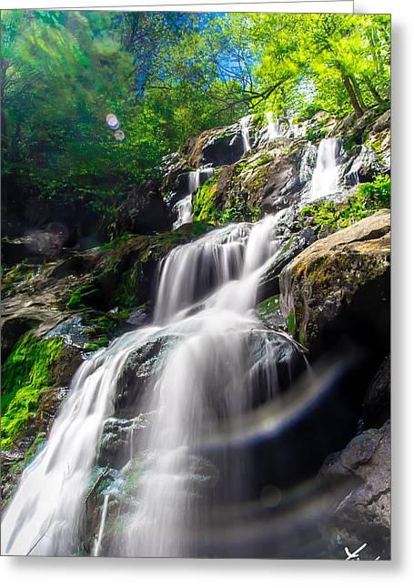 Blue Green Water Pyrography Greeting Cards - Shenandoah Falls Greeting Card by Shane York