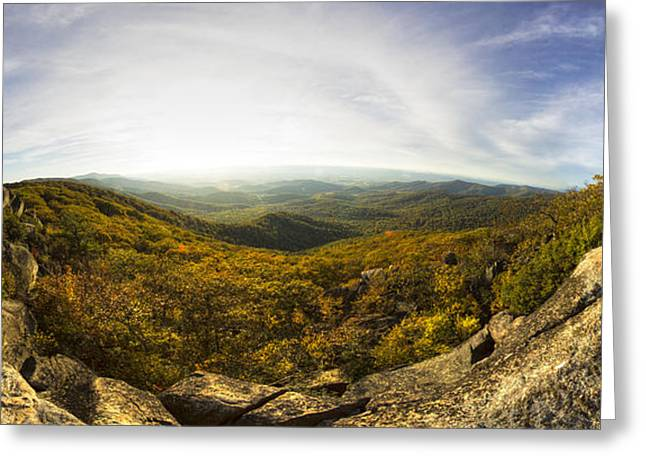 Shenandoah National Park Greeting Cards - Shenandoah National Park Panoramic Greeting Card by Dustin K Ryan
