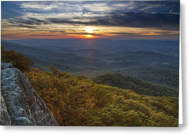 Mountain Road Greeting Cards - Shenandoah National Park Sunset Greeting Card by Pierre Leclerc Photography