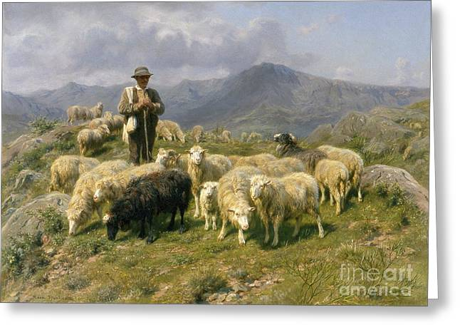 Fog Mist Greeting Cards - Shepherd of the Pyrenees Greeting Card by Rosa Bonheur