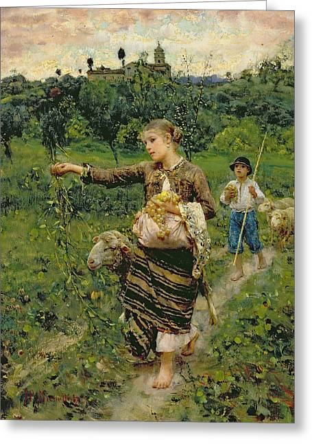 Flock Greeting Cards - Shepherdess carrying a bunch of grapes Greeting Card by Francesco Paolo Michetti