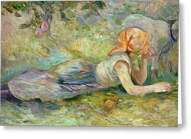 Pensive Greeting Cards - Shepherdess Resting Greeting Card by Berthe Morisot